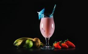 Wallpaper berry, tube, bananas, black background, strawberry, fruit, lime, cocktail, glass, kiwi, umbrella