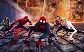 Picture the city, fiction, the building, cartoon, height, art, characters, Spider-man: universes, Spider-Man: Into the Spider-Verse