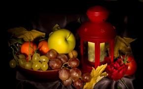 Wallpaper autumn, leaves, Apple, grapes, lantern, tangerines, naturpur