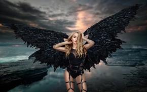 Wallpaper sea, girl, wings, angel, harness, Renat Khismatulin