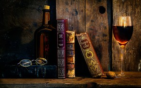 Picture retro, wall, books, picture, the evening, glasses, ART, red wine, contemporary art, modern art, lighting-darkness