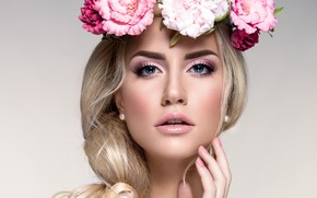 Picture girl, flowers, model, makeup, hairstyle, blonde, wreath, women