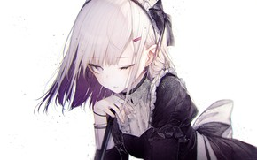Picture hand, bow, white hair, the maid, wink, ruffles, bangs
