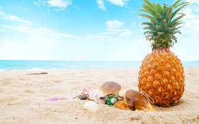 Wallpaper sand, sea, beach, summer, the sky, stay, glasses, shell, summer, pineapple, beach, vacation, sea, sand, ...