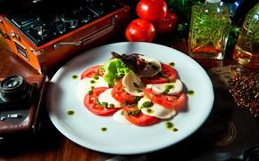 Picture tomato, salad, Caprese, mozzarella