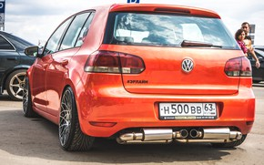 Picture volkswagen, wheels, golf, tuning, germany, low, stance, mk6