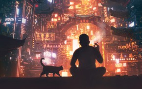 Picture Night, The city, Future, Smoke, People, Cat, Light, Silhouette, City, Lighting, Chinatown, Concept Art, Science …