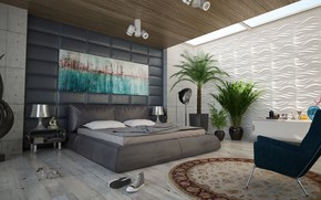 Picture lamp, room, bed, sneakers, interior, carpet, chair, bedroom