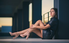 Picture girl, model, heels, bokeh, sandals, beautiful legs, Under