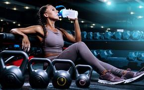 Picture leggings, resting, kettlebell, activewear, fitness women