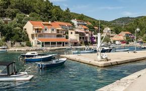 Picture photo, Home, Pier, The city, Bay, Boats, Croatia, Boats, Korčula Island, Dirt