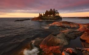 Picture trees, landscape, nature, lake, stones, dawn, morning, Lake Ladoga, Ladoga, Maxim Evdokimov