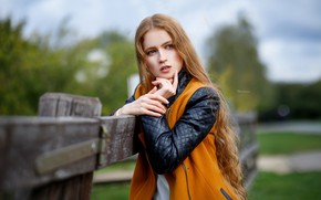 Picture look, girl, face, pose, the fence, portrait, hands, jacket, long hair, Maxim Romanov, Maks Romanov
