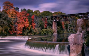Picture autumn, bridge, river, Canada