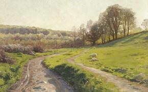 Picture Danish painter, 1913, Peter Merk Of Menstad, Peder Mørk Mønsted, Danish realist painter, oil on …