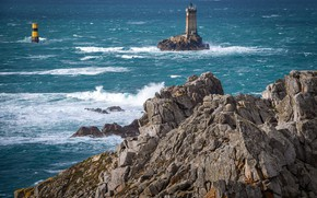 Picture sea, rocks, shore, lighthouse