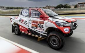 Picture Toyota, pickup, Hilux, on the track, 2020, Rally Dakar, 2021, Gazoo Racing