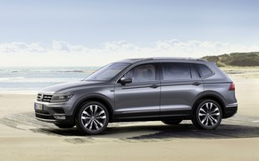 Picture sand, the sky, grey, shore, Volkswagen, Tiguan