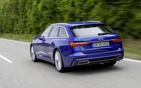 Picture blue, Audi, rear view, 2018, universal, A6 Avant