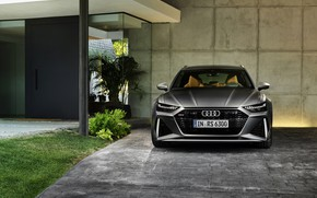 Picture Audi, the wall, universal, RS 6, 2020, 2019, dark gray, V8 Twin-Turbo, RS6 Avant