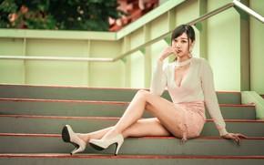 Picture girl, skirt, blouse, steps, legs, Asian, sitting