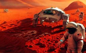 Picture fantasy, science fiction, sci-fi, digital art, artwork, Mars, fantasy art, vehicle, pearls, futuristic, space suit, …