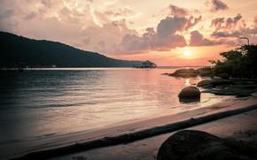 Picture beach, sunset, island, sand, shore, pier, vacation, travel, hut