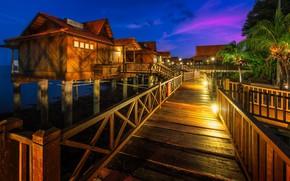 Picture night, bridge, houses