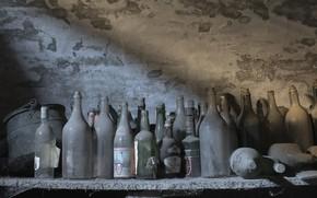 Picture dust, shelf, bottle