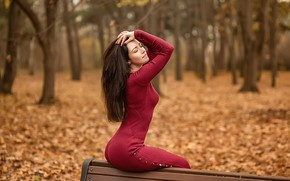 Picture fashion, style, model, brunette, red dress, A Diakov George