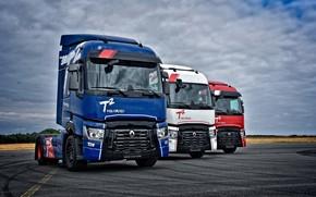 Picture the sky, asphalt, clouds, trucks, Renault, tractors, 4x2, Renault Trucks, T-series