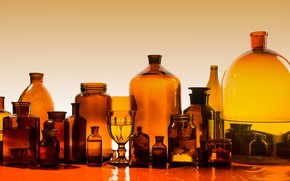 Picture bottles, shapes, transparent, sizes