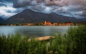 Picture grass, clouds, mountains, shore, Bayern, Alps, Church, houses, the bridge, bridges, pond, settlement