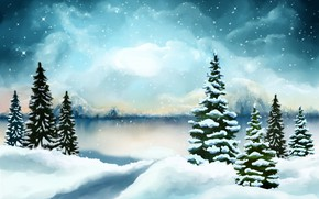 Picture winter, forest, the sky, clouds, snow, clouds, shore, graphics, ate, Christmas, the snow, New year, …