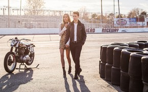 Picture girl, the sun, motorcycle, guy, lovers, Teen Vogue, Ansel Elgort