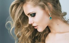Picture face, makeup, blonde, curls