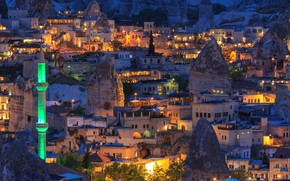 Picture trees, lights, stones, home, the evening, lights, Turkey, the view from the top, Goreme