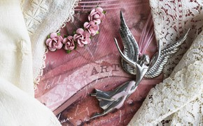 Picture roses, wings, angel, lace, vintage