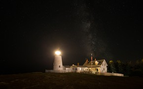 Wallpaper the sky, stars, light, trees, night, bright, lights, house, darkness, shore, the fence, lighthouse, lighting, ...
