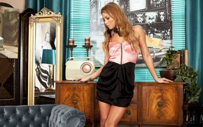 Picture girl, pose, room, makeup, dress, mirror, beauty