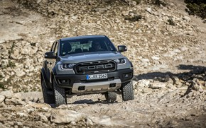 Picture stones, grey, Ford, front view, Raptor, pickup, Ranger, 2019