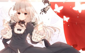 Picture look, girl, butterfly, rozen maiden, suigintou