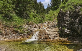 Picture mountains, waterfall, Austria, river