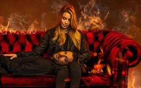 Picture look, sofa, the devil, detective, Lucifer, Tom Ellis, Lucifer, Lauren German