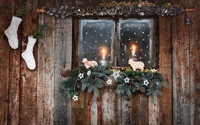 Picture balls, branches, house, room, wall, holiday, toys, Board, sheep, candles, window, Christmas, New year, wooden, …