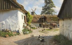 Picture Danish painter, 1921, Peter Merk Of Menstad, Peder Mørk Mønsted, Danish realist painter, The watermill …
