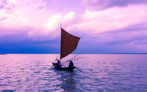 Picture sea, sunset, reflection, lilac, coast, boat, the evening, sail, fishermen, photo, Bangladesh, Rajbari District
