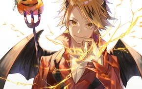 Picture anime, the demon, art, pumpkin, guy, Halloween, Boku no Hero Academy, electrical discharges