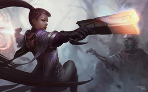 Picture girl, gun, art, zombies, League of Legends, League of legends