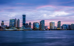 Picture city, lights, USA, river, sky, sunset, New York, NYC, New York City, clouds, building, cityscape, …